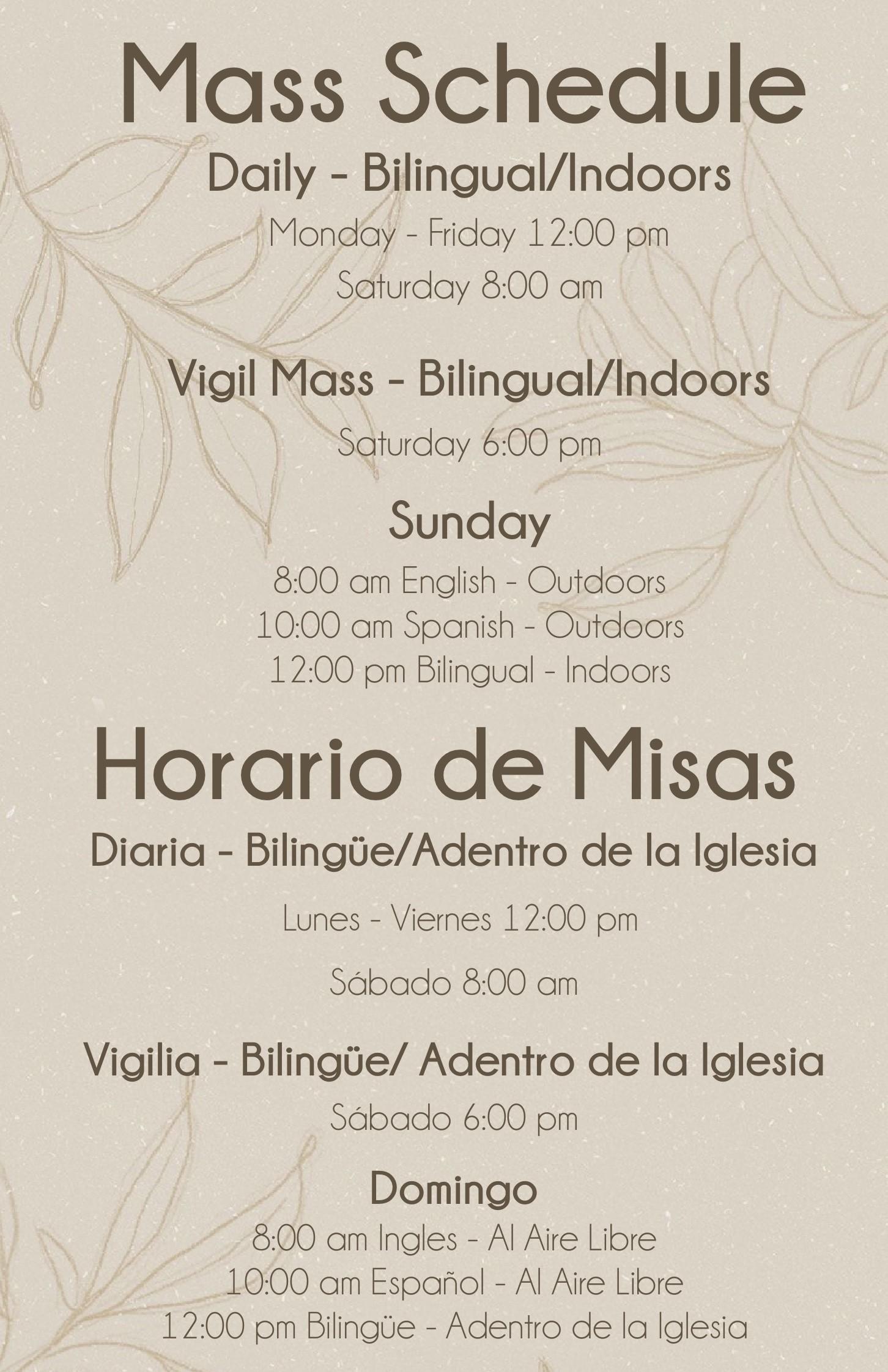 Updated Mass Schedule